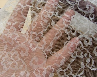 Good quality Off White Lace Fabric by the Yard or Wholesale for wedding,shadow embroidery-LSMW017T