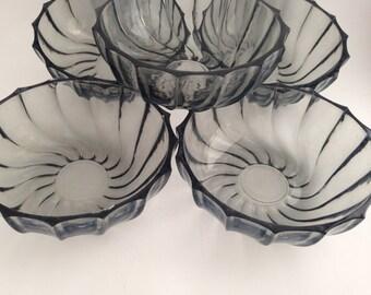 Grey Glass Bowl with Swirl Pattern, Set of 5 Round Bowls with Swirl Pattern, Gray Blue Dishes