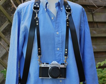 Leather harness for photographer, 3 positions possible for 3 cameras