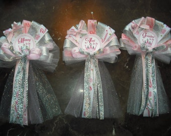Baby shower princess corsage set 1 Mommy 2 Grandma corsages and 1 Daddy Tie