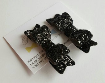 Girls hair clips, set of glitter Hair Clips, sparkly hair clips, black hair bows, Toddlers, Baby Girl Hair Clips, Glitter Hair bows, black