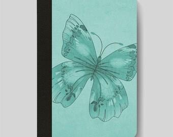 iPad Folio Case, iPad Air Case, iPad Air 2 Case, iPad 1 Case, iPad 2 Case, iPad 3 Case, iPad Mini 1 2 3 4, Turquoise Butterfly Design