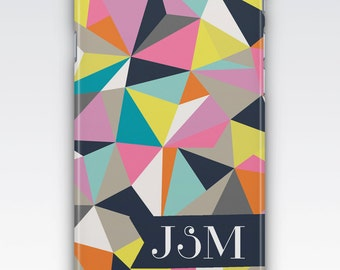 Case for iPhone 8, iPhone 6s,  iPhone 6 Plus,  iPhone 5s,  iPhone SE,  iPhone 5c,  iPhone 7,  Multicolored Geometric Monogram