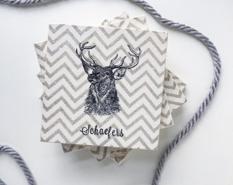 Personalized Deer Antler, Farmhouse Style Gift, Chevron Tile Coasters, Deer Coasters