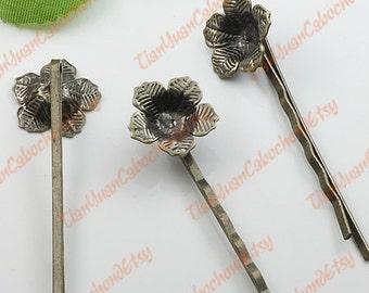 10 pcs Filigree Hairpins Brass Tone Circle Cabochon Bases 1046055201