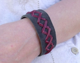 Gray & Maroon Suede Leather Cuff Bracelet Adjustable