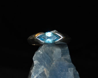 Vintage East West Marquise Stacking Blue Topaz 925 Bold Sterling Ring