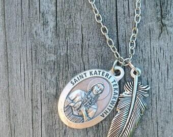 St. Kateri Tekakwitha Feather necklace