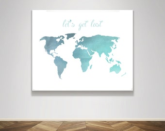 Lets get lost map etsy instant download watercolor blue world map lets get lost travel word quote poster wall gumiabroncs Choice Image