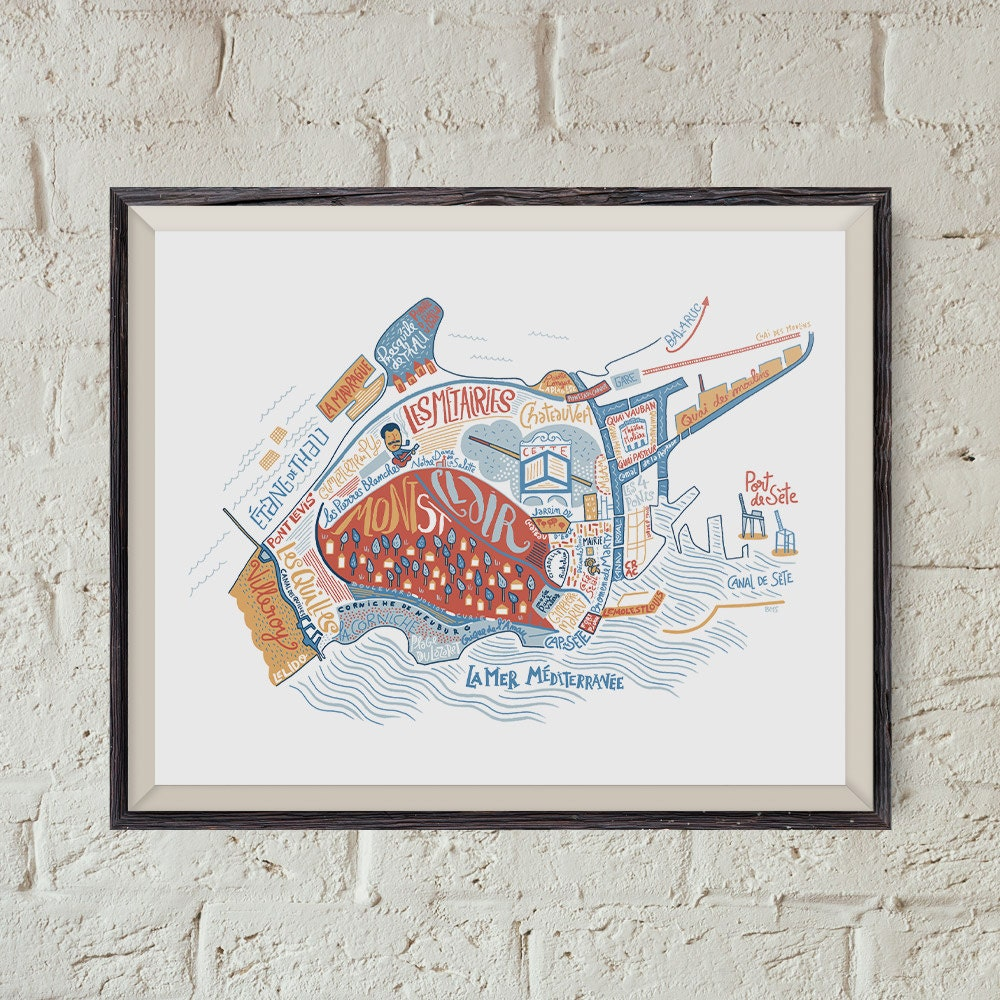 carte de s te art du voyage cadeau pour voyageur poster ville. Black Bedroom Furniture Sets. Home Design Ideas