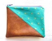 7.5x6.5 | Turquoise Gold Cross | Clutch, Makeup Bag, Zippered Pouch, Vegan, Wristlet, Leather, Purse, Camel, Bag, Metallic