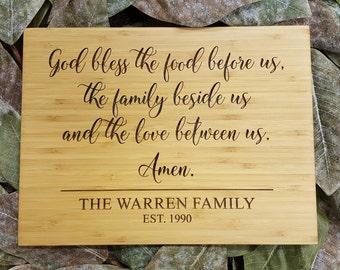 Custom Cutting Board - God Bless The Food Beside Us - Personalized Cutting Board - Bamboo Cutting Board - Cutting Board - Wedding Gift