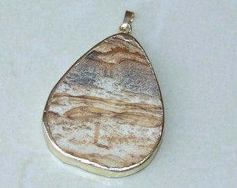 Picture Jasper Pendant - Earth Tones - Matte Finish - Gold Plated Edge and Bail - 43mm x 54mm - 5540