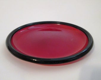 "Vintage Ruby Red 7"" Salad Plates, Arcoroc  France, Cocoon-Ruby Pattern, 7 Inch Ruby Red Plate w/ Rolled Edge, Dessert Plate, Red Glass Plate"