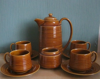 Vintage Sadler Beehive Style Treacle Glazed Coffee Pot Set