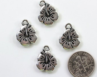 "4 Pieces,""Hibiscus Charms"" By TIERRACAST~Antique Fine Silver Plated Lead Free Pewter Drop Charms 0712"