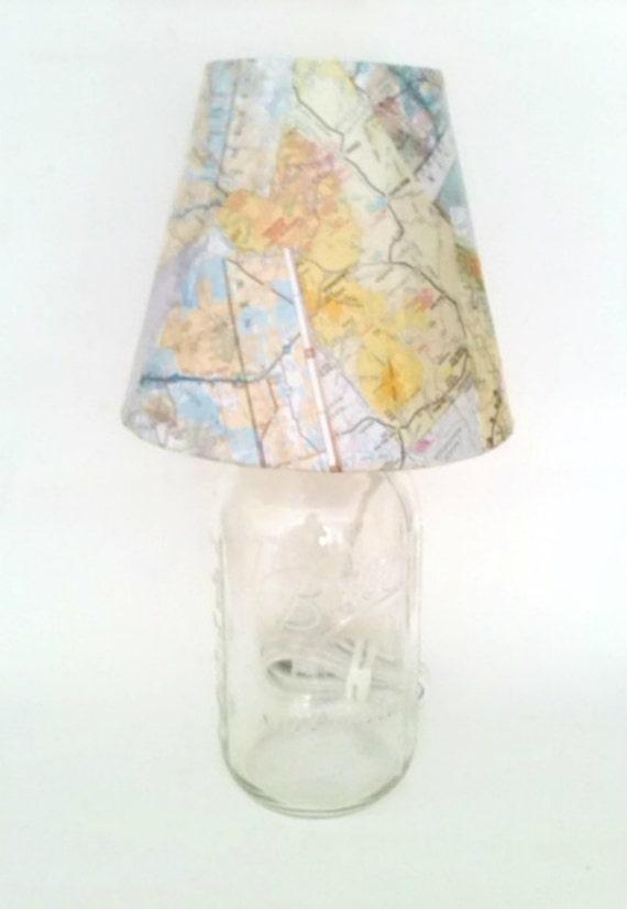 mason jar desk lamp table lamp vintage map lamp shade table lamp. Black Bedroom Furniture Sets. Home Design Ideas