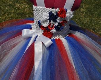 Girls Patriotic Dress, Red White Blue Toddler Dress, 4th of July Flower Girl, Patriotic Infant Baby Dress, Red White Blue Girls Dress