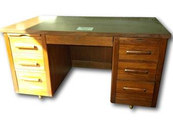 Mid Century Desk - Danish Modern Desk - Teak Executive Desk