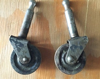 Industrial Caster Hardware, Vintage Hardware, Vintage Casters, Set of Two, Vintage Wheels, Metal Caster Wheels, Post Casters,Steampunk Decor