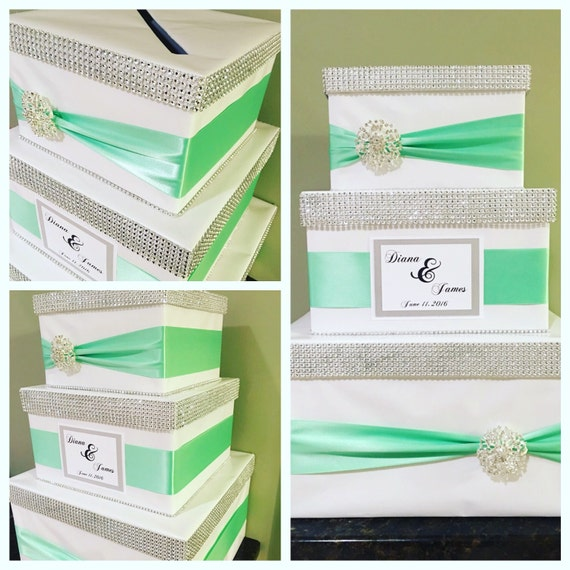 Wedding Cake Card Box, Bridal Shower, Mint Green Card holder, Reception card box, Money Box, Card Box Holder, Custom made card box