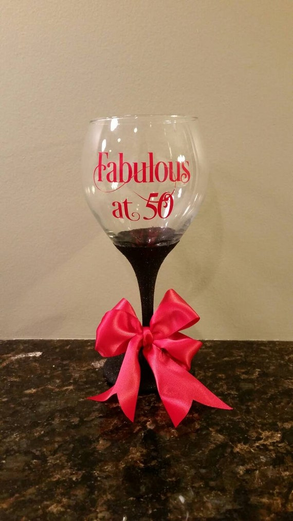 Glitter wine glass, Fabulous 50 Glittered Wine Glass, Birthday Gift, 50th Birthday, 50 and Fabulous, 50 & Fabulous, Milestone Birthday Gift
