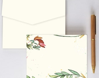 Watercolor Greenery Stationery -  10 Pack w/ Nature Note Cards and Envelopes - stationary, thank you, gift, floral, green, red, pretty