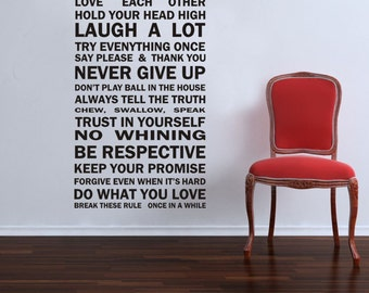 Inspirational Wall Sticker Quotes - HOUSE RULES...  AW1050