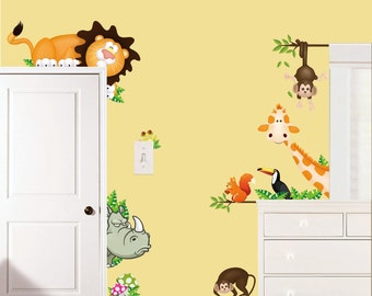 Removable Wall Stickers - Jungle Animals Door Surround Stickers - AW0001