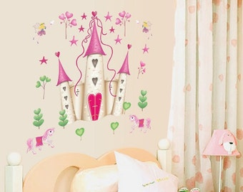 Fairy Castle Girls Bedroom Wall Decal - AW5083