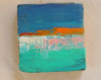 rothko inspired, horizontal painting, original painting, oil painting, turquoise, small, abstract landscape painting, square artwork