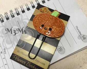 Pumpkin Fetlie Paperclip, vinyl pumpkin clip, Fall Planner Decor, October November Planner Clip, Planner Paperclip, Sparkle planner clip