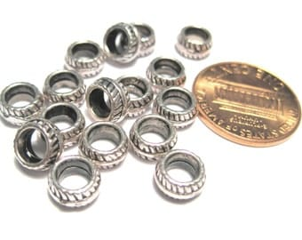 20pcs Antique Silver Spacer Beads Large Hole Beads 7mm