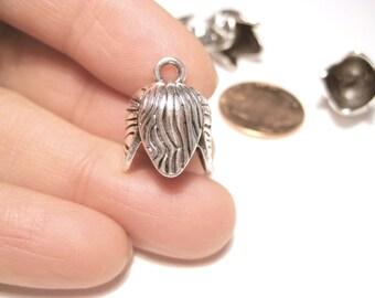 10pcs Antique Silver Cone Bead Caps Tassel Caps Kumihimo Caps