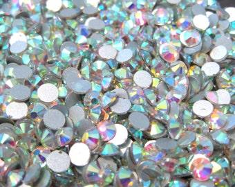 100pcs Clear AB Glass Flatback Rhinestone -A Grade SS30 (6mm)No-Hotfix