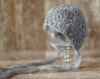 Mohair Newborn Hat, Baby Girl  Boy Knitted Bonnet, Photo Prop, Vintage Hat, Baby Girl Hat, Gray