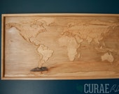 """World Map #8 - Accurate 3D Topographic Relief Carving - 13.1"""" x 24"""""""