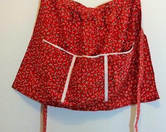 vintage red floral half apron floral half apron retro half apron 1970s Swedish handmade apron