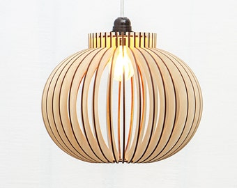 Already ASSEMBLED Scandinavian style wooden hanging lamp / lighting / design lamp / kitchen lamp / Lamp / dark wood lamp 'Paris S'