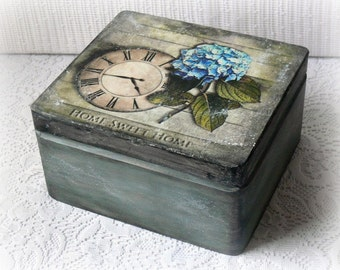 Vintage style wooden box ,keepsake box , decoupage box , treasury box , home sweet home , hydrangea , vintage clock ,