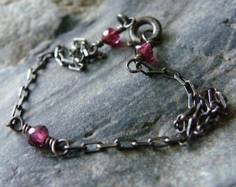 Garnet Silver Bracelet, Garnet Bracelet, Oxidized Silver Bracelet, Boho Bracelet, Garnet Sterling Silver Bracelet, Bohemian, Valentine