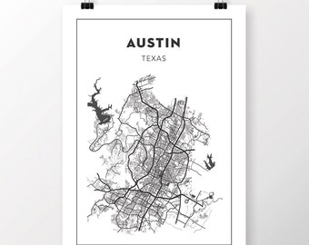 FREE SHIPPING to the U.S!! AUSTIN Map Print