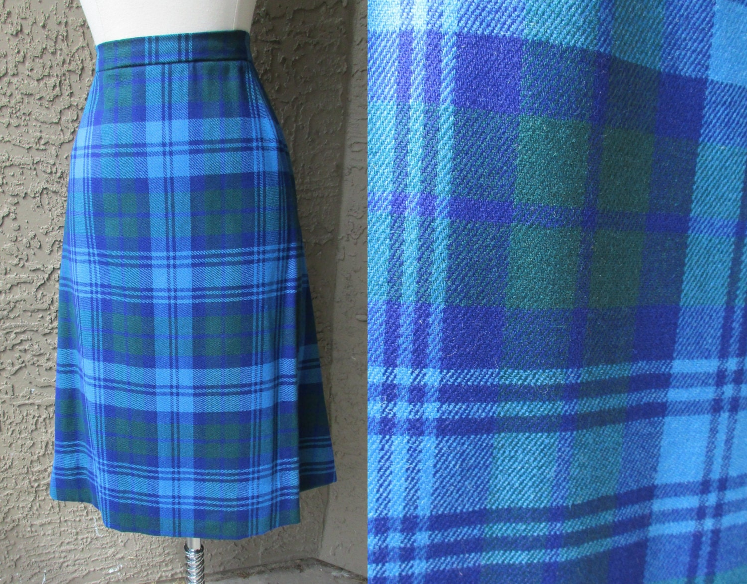 blue green plaid a line skirt home tailored wool plaid