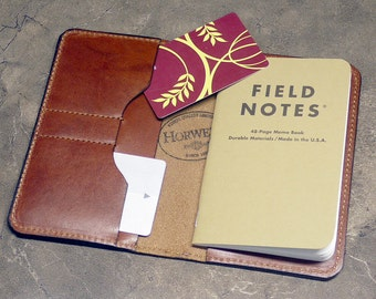 Luxury Cognac Horween Leather Field Notes Wallet with 2 Credit Card Pockets, Moleskine Wallet