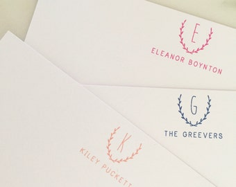 Initial Personalized Stationary - Monogrammed Stationery Set of 20 Flat Note Thank You Cards