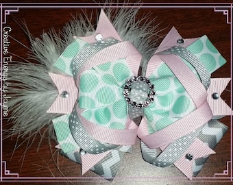Teal/Pink/Gray Stacked Bow