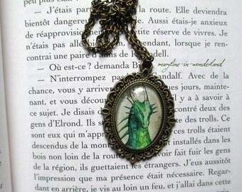 Cabochon Emerald Green Dragon necklace