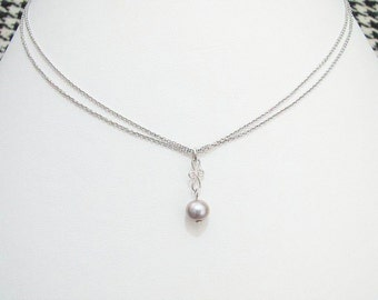 Freshwater Pearl Pendant Necklace Sterling Silver Twins Chain 925 Silver Choker Freshwater Pearl in Purple
