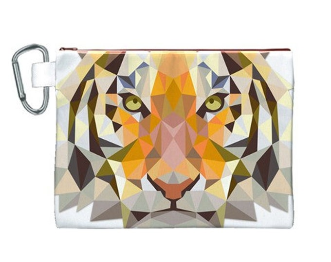 Fierce Mosiac Tiger Large High Quality Canvas Cosmetic Toiletry Travel Bag
