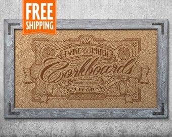 Premium Rustic Framed Corkboard - Weathered Grey